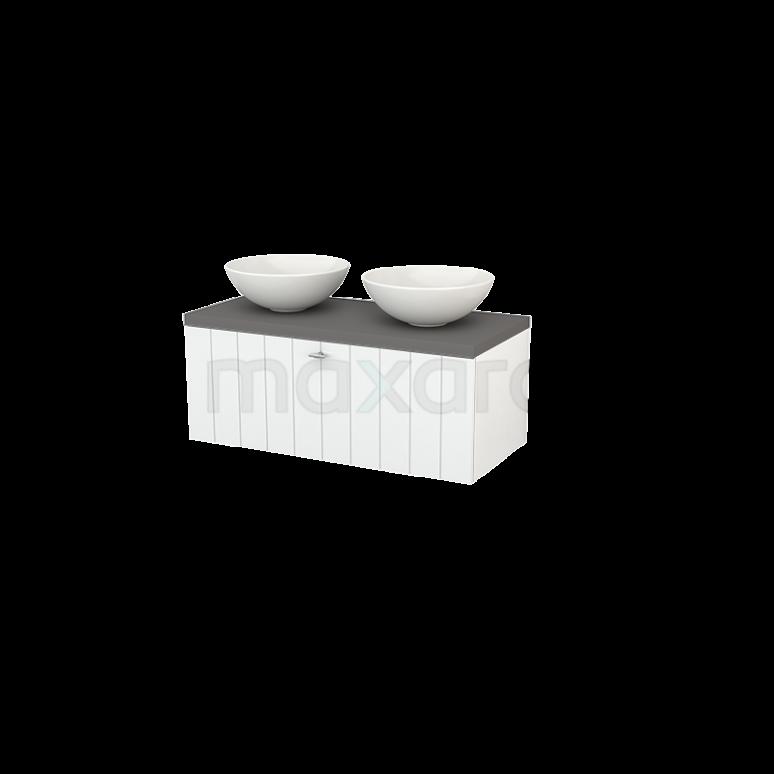 Badkamermeubel voor Waskom 100cm Modulo+ Plato Hoogglans Wit 1 Lade Lamel Basalt Blad