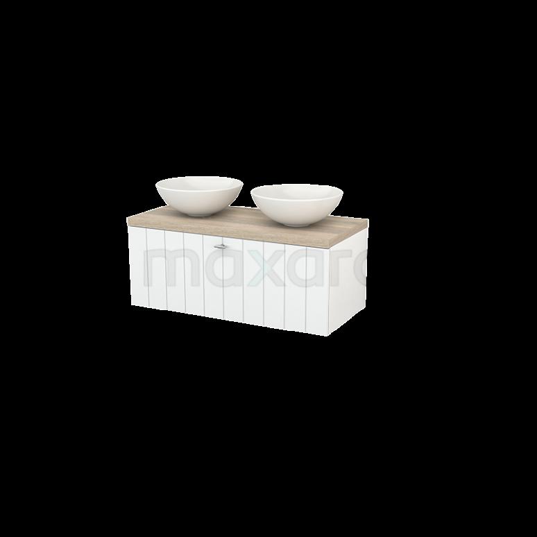 Badkamermeubel voor Waskom 100cm Modulo+ Plato Hoogglans Wit 1 Lade Lamel Eiken Blad