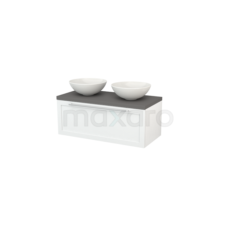Badkamermeubel voor Waskom 100cm Modulo+ Plato Hoogglans Wit 1 Lade Kader Basalt Blad