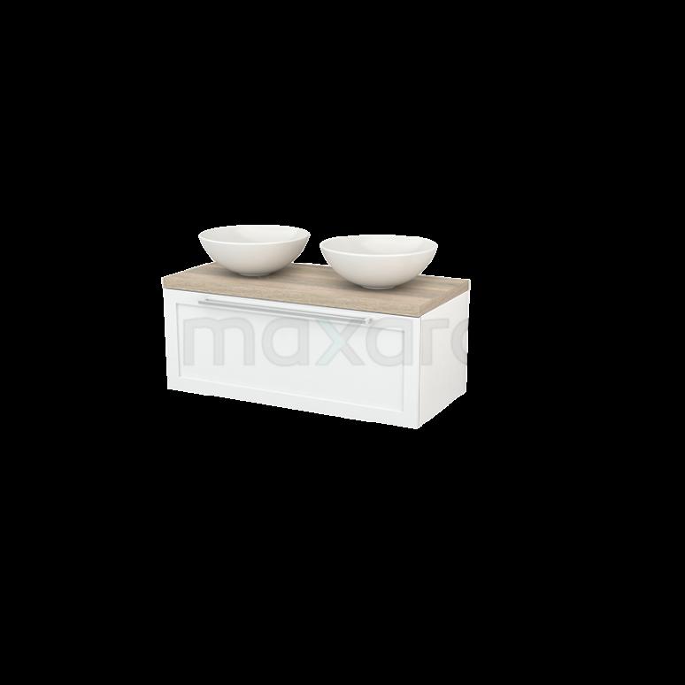 Badkamermeubel voor Waskom 100cm Modulo+ Plato Hoogglans Wit 1 Lade Kader Eiken Blad