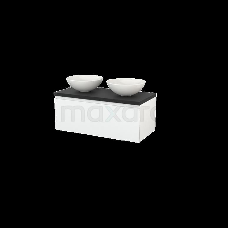 Badkamermeubel voor Waskom 100cm Modulo+ Plato Hoogglans Wit 1 Lade Greeploos Carbon Blad