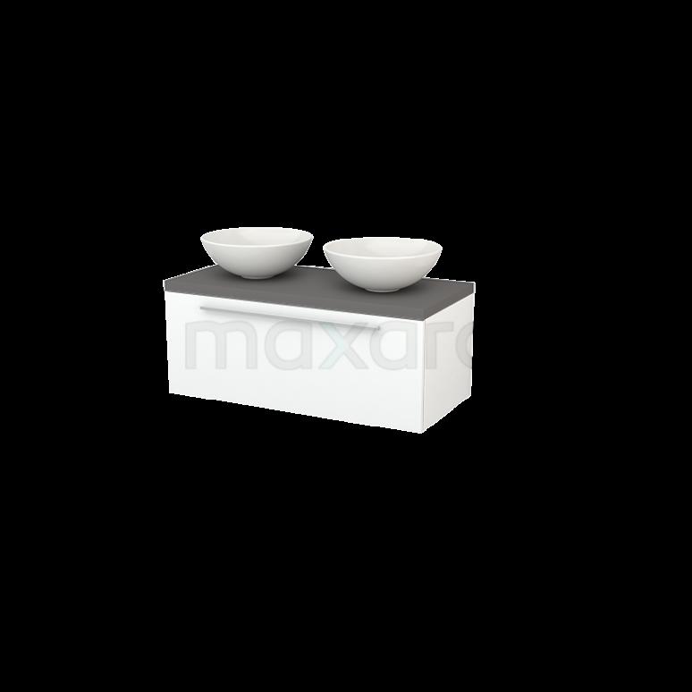 Badkamermeubel voor Waskom 100cm Modulo+ Plato Mat Wit 1 Lade Vlak Basalt Blad