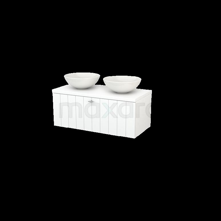 Badkamermeubel voor Waskom 100cm Modulo+ Plato Mat Wit 1 Lade Lamel