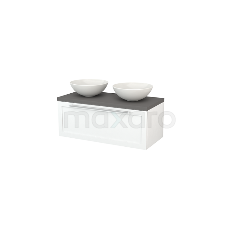 Badkamermeubel voor Waskom 100cm Modulo+ Plato Mat Wit 1 Lade Kader Basalt Blad