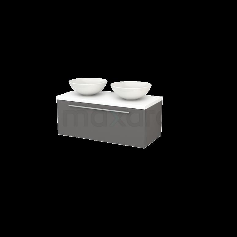 Badkamermeubel voor Waskom 100cm Modulo+ Plato Basalt 1 Lade Vlak Mat Wit Blad