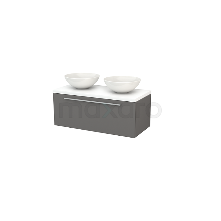 Badkamermeubel voor Waskom 100cm Modulo+ Plato Basalt 1 Lade Vlak Hoogglans Wit Blad