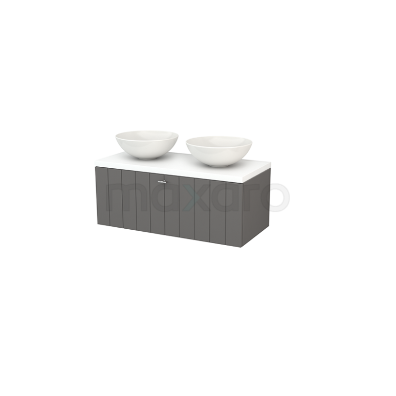 Badkamermeubel voor Waskom 100cm Modulo+ Plato Basalt 1 Lade Lamel Mat Wit Blad