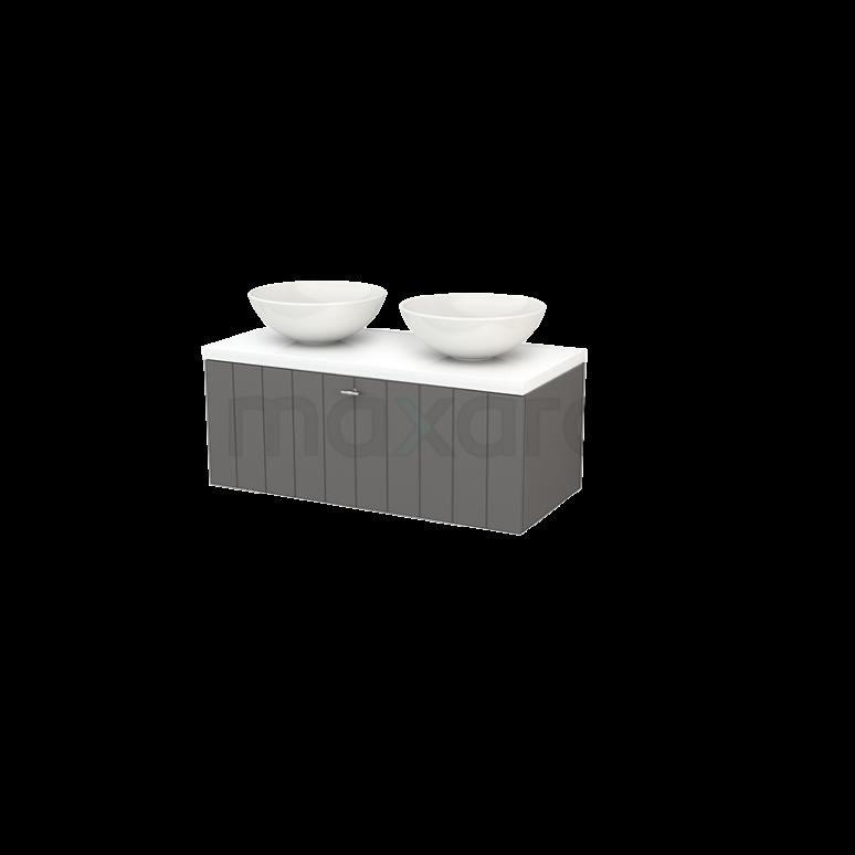 Badkamermeubel voor Waskom 100cm Modulo+ Plato Basalt 1 Lade Lamel Hoogglans Wit Blad