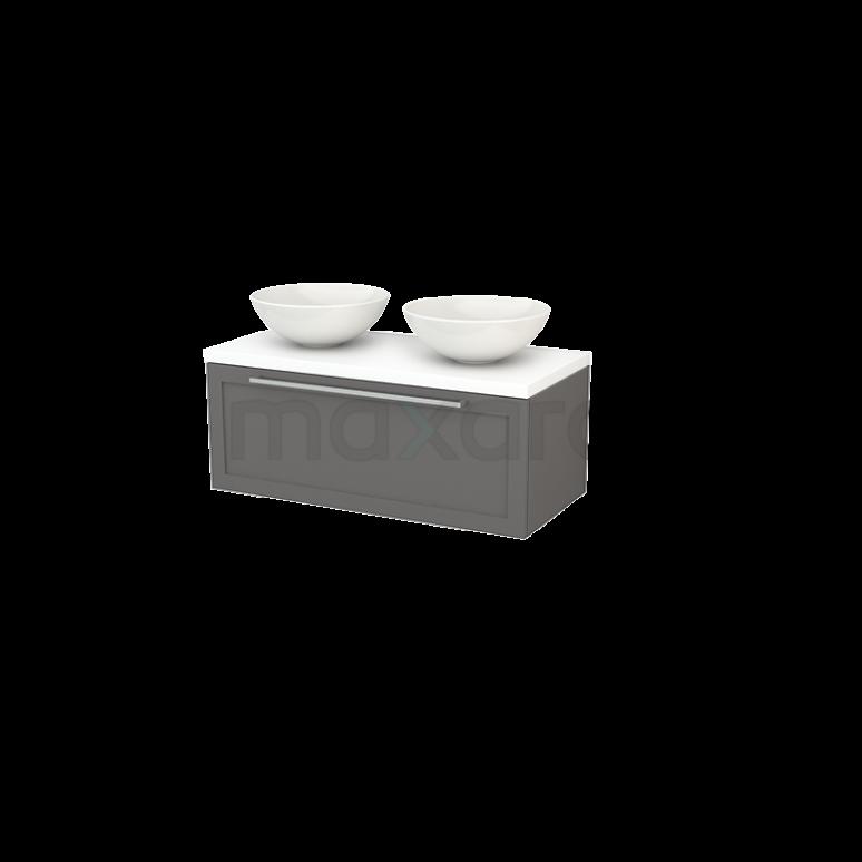 Badkamermeubel voor Waskom 100cm Modulo+ Plato Basalt 1 Lade Kader Mat Wit Blad