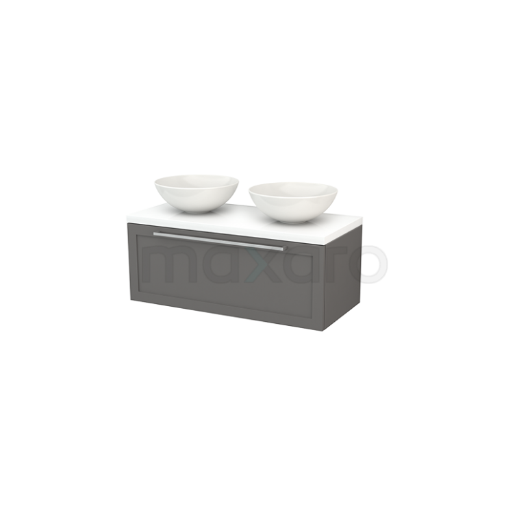 Badkamermeubel voor Waskom 100cm Modulo+ Plato Basalt 1 Lade Kader Hoogglans Wit Blad
