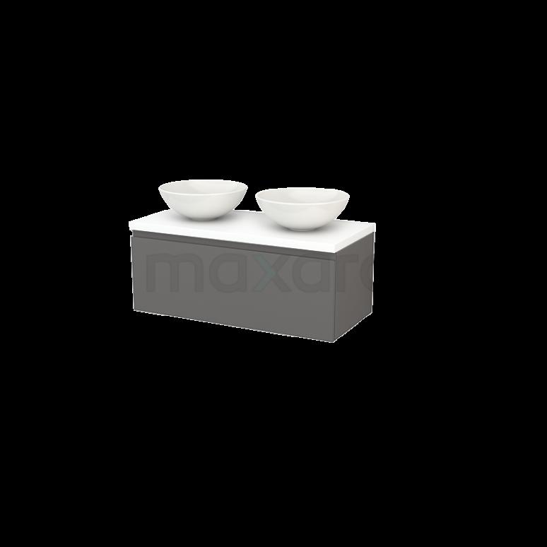 Badkamermeubel voor Waskom 100cm Modulo+ Plato Basalt 1 Lade Greeploos Mat Wit Blad