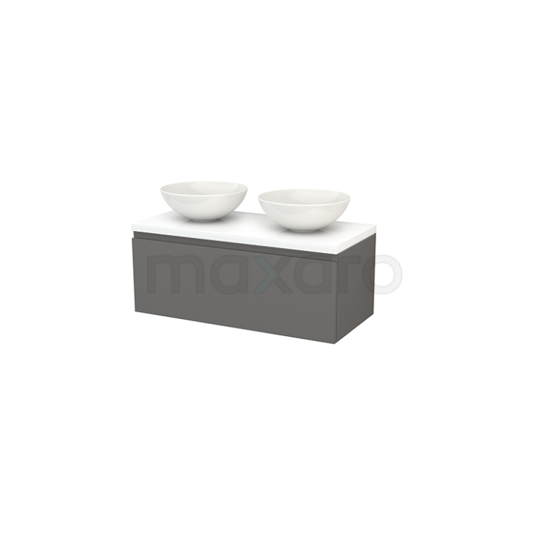 Badkamermeubel voor Waskom 100cm Modulo+ Plato Basalt 1 Lade Greeploos Hoogglans Wit Blad