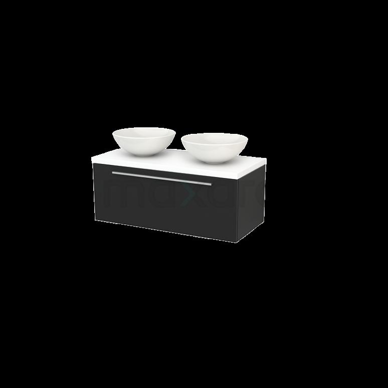 Badkamermeubel voor Waskom 100cm Modulo+ Plato Carbon 1 Lade Vlak Mat Wit Blad