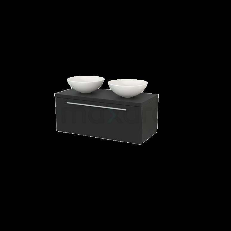 Badkamermeubel voor Waskom 100cm Modulo+ Plato Carbon 1 Lade Vlak