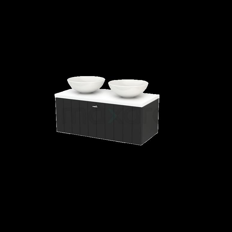 Badkamermeubel voor Waskom 100cm Modulo+ Plato Carbon 1 Lade Lamel Hoogglans Wit Blad