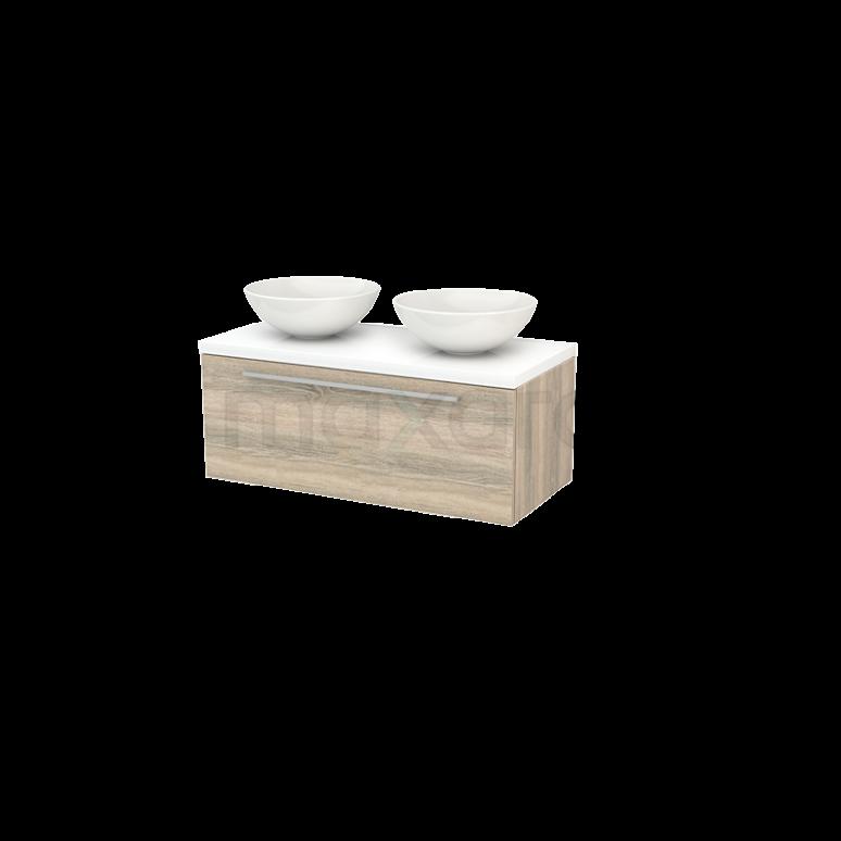 Badkamermeubel voor Waskom 100cm Modulo+ Plato Eiken 1 Lade Vlak Hoogglans Wit Blad