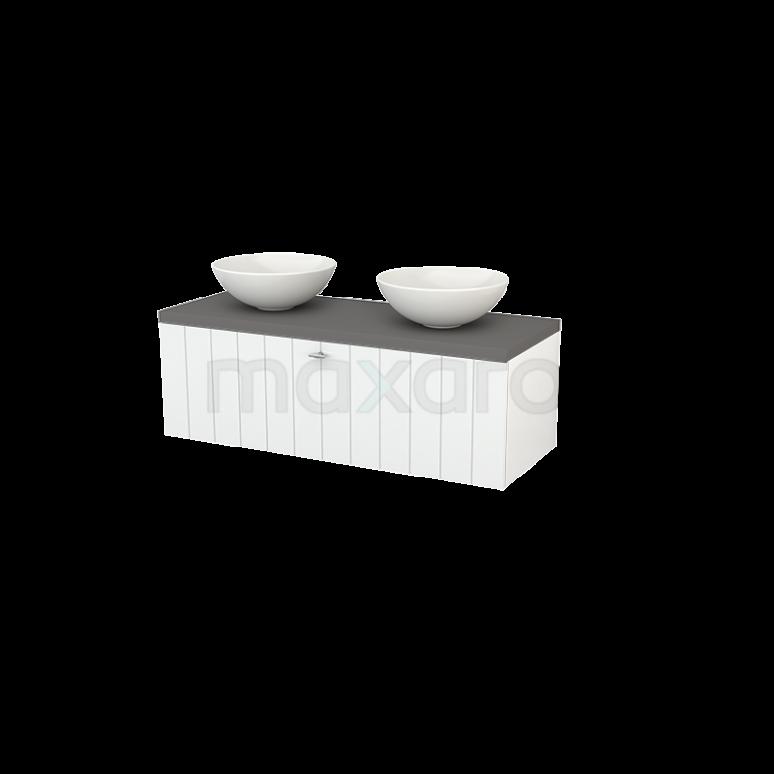 Badkamermeubel voor Waskom 120cm Hoogglans Wit Lamel Modulo+ Plato Basalt Blad