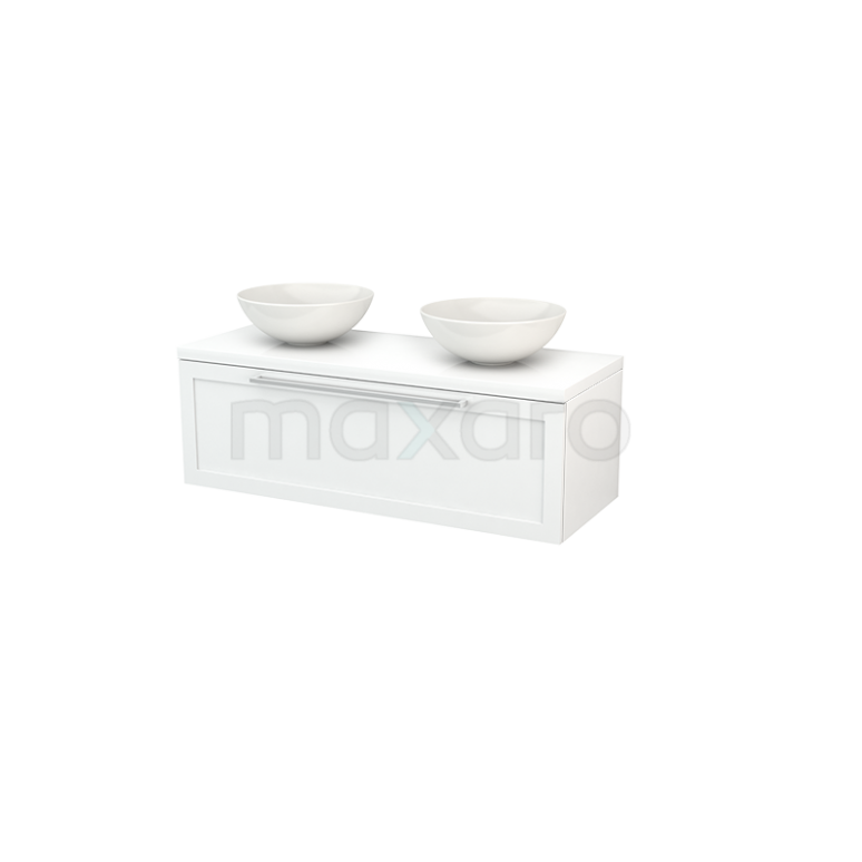 Badkamermeubel voor Waskom 120cm Modulo+ Plato Hoogglans Wit 1 Lade Kader