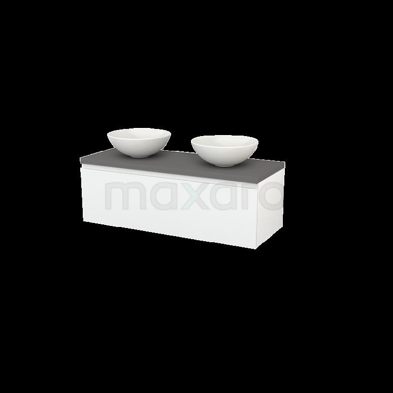 Badkamermeubel voor Waskom 120cm Hoogglans Wit Greeploos Modulo+ Plato Basalt Blad