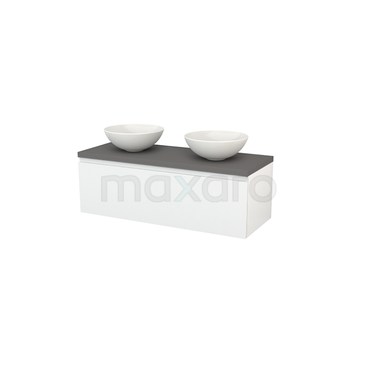 Maxaro Modulo+ Plato BMK001469 Badkamermeubel voor Waskom 120cm Hoogglans Wit Greeploos Modulo+ Plato Basalt Blad