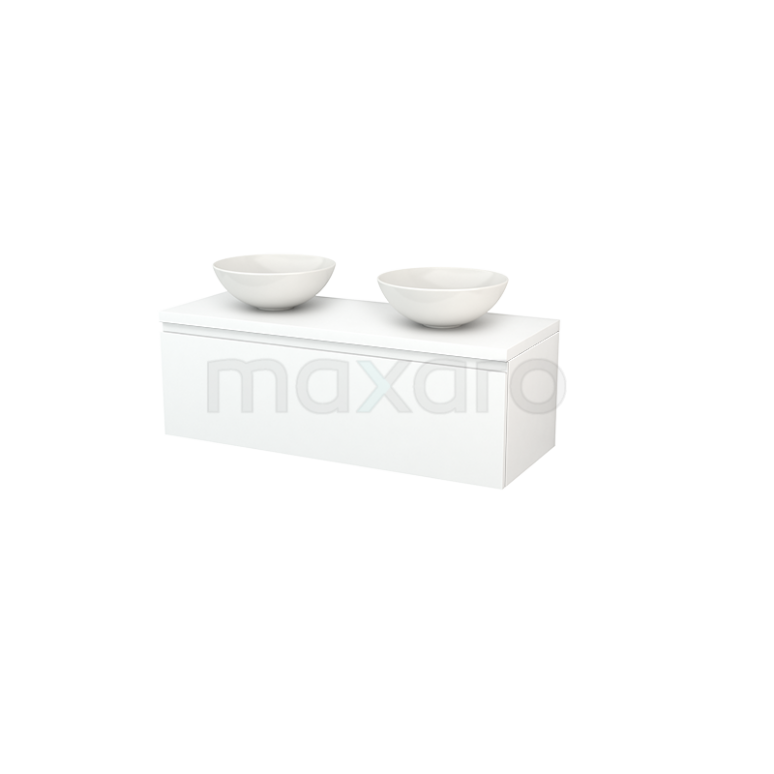 Maxaro Modulo+ Plato BMK001492 Badkamermeubel voor Waskom 120cm Modulo+ Plato Mat Wit 1 Lade Greeploos