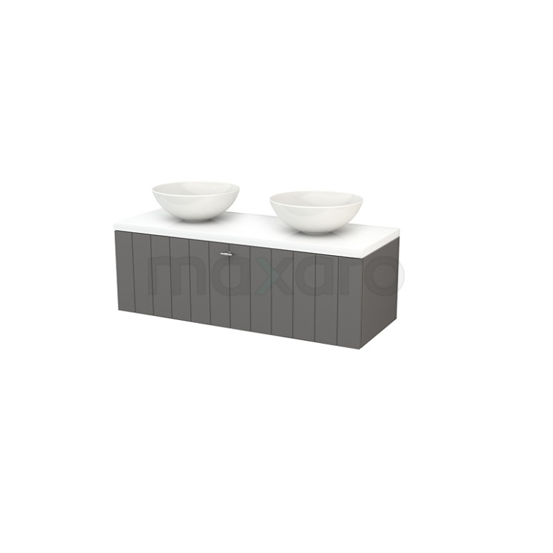 Badkamermeubel voor Waskom 120cm Basalt Lamel Modulo+ Plato Hoogglans Wit Blad