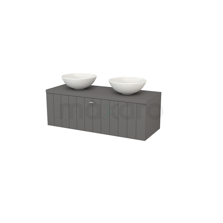 Badkamermeubel voor Waskom 120cm Modulo+ Plato Basalt 1 Lade Lamel