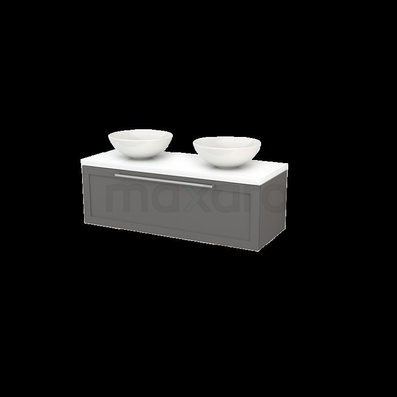 Badkamermeubel voor Waskom 120cm Basalt Kader Modulo+ Plato Hoogglans Wit Blad
