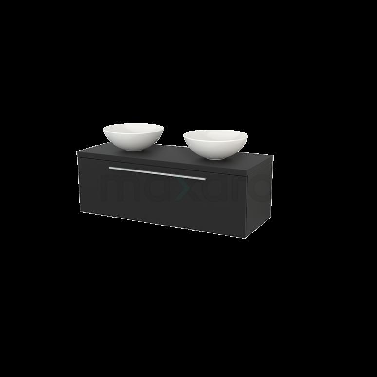 Badkamermeubel voor Waskom 120cm Modulo+ Plato Carbon 1 Lade Vlak