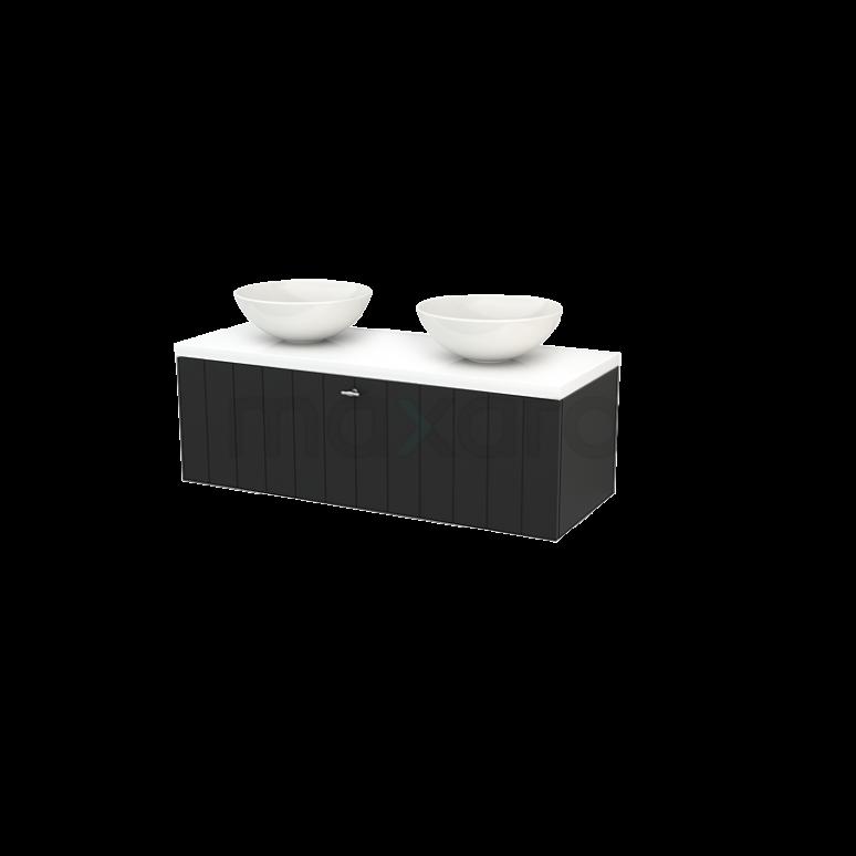 Maxaro Modulo+ Plato BMK001514 Badkamermeubel voor Waskom 120cm Carbon Lamel Modulo+ Plato Hoogglans Wit Blad