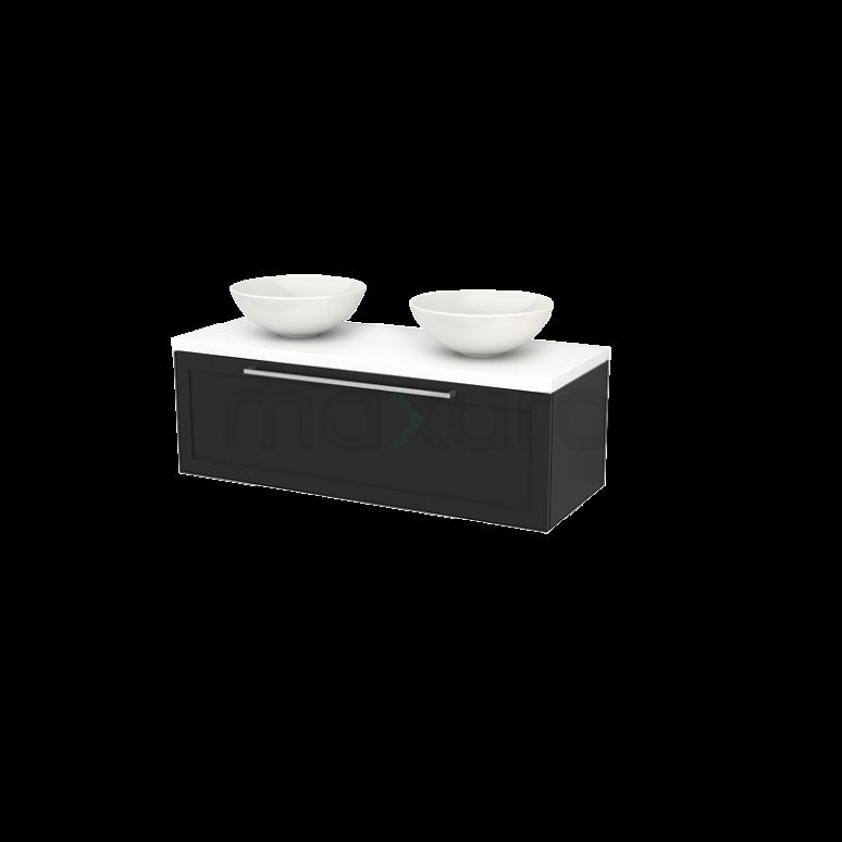 Maxaro Modulo+ Plato BMK001516 Badkamermeubel voor Waskom 120cm Carbon Kader Modulo+ Plato Mat Wit Blad