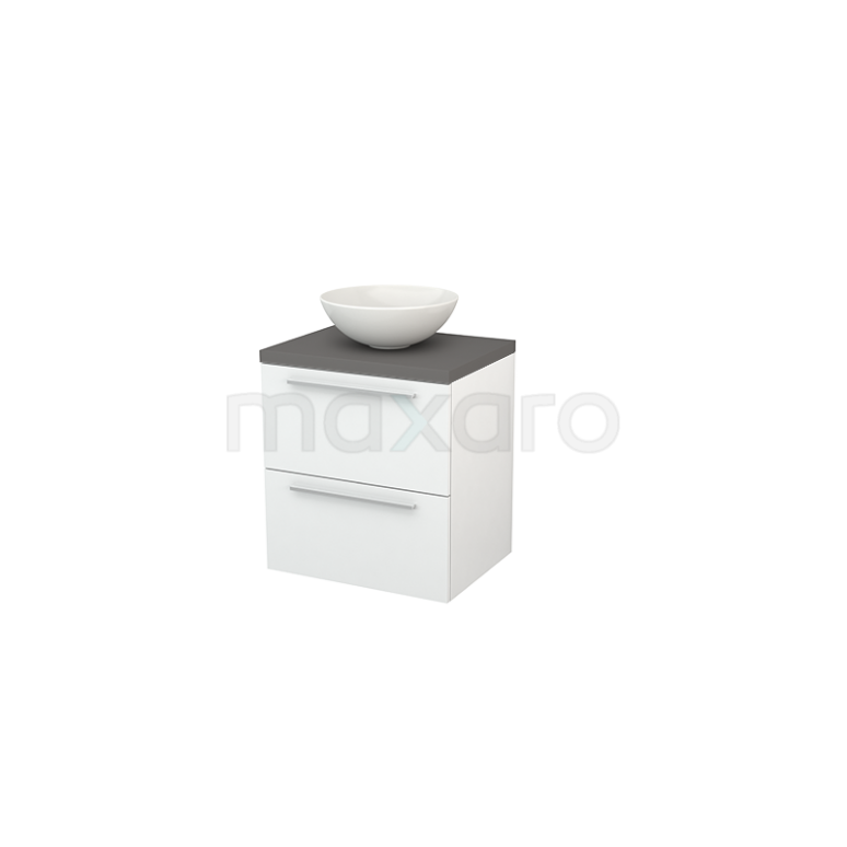 Maxaro Modulo+ Plato BMK001541 Badkamermeubel voor Waskom 60cm Hoogglans Wit Vlak Modulo+ Plato Basalt Blad
