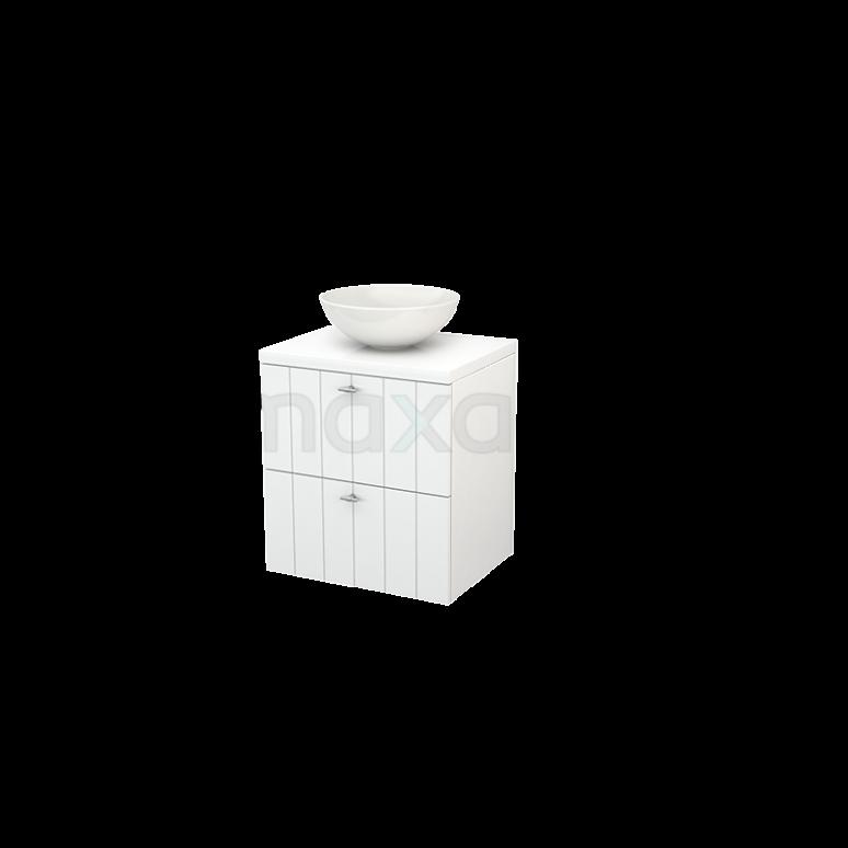 Badkamermeubel voor Waskom 60cm Modulo+ Plato Hoogglans Wit 2 Lades Lamel