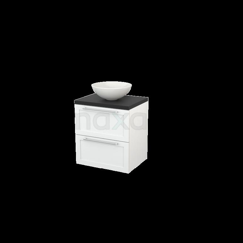 Badkamermeubel voor Waskom 60cm Hoogglans Wit Kader Modulo+ Plato Carbon Blad