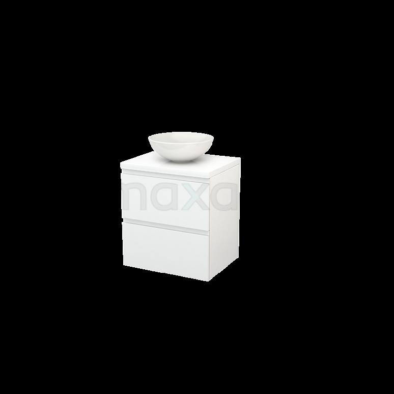 Badkamermeubel voor Waskom 60cm Modulo+ Plato Hoogglans Wit 2 Lades Greeploos