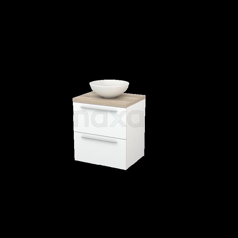 Badkamermeubel voor Waskom 60cm Mat Wit Vlak Modulo+ Plato Eiken Blad