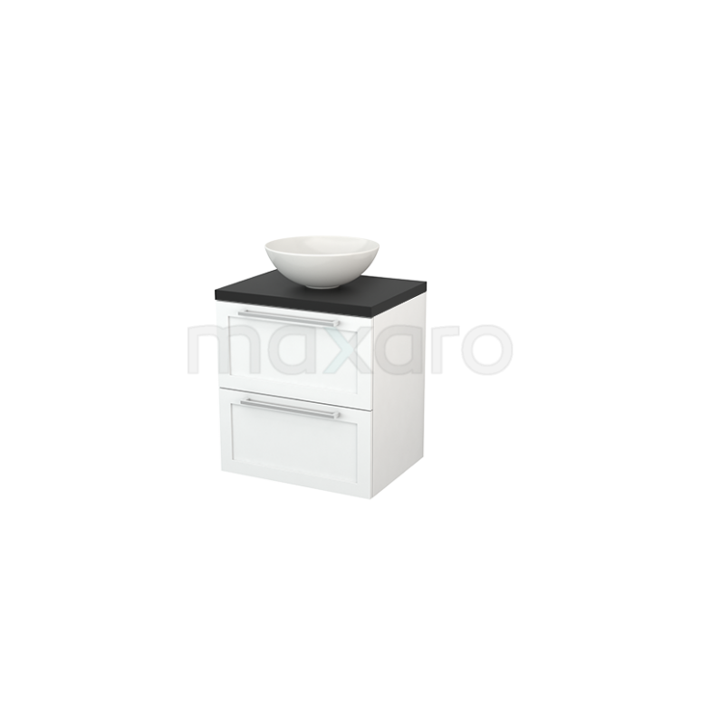 Badkamermeubel voor Waskom 60cm Mat Wit Kader Modulo+ Plato Carbon Blad