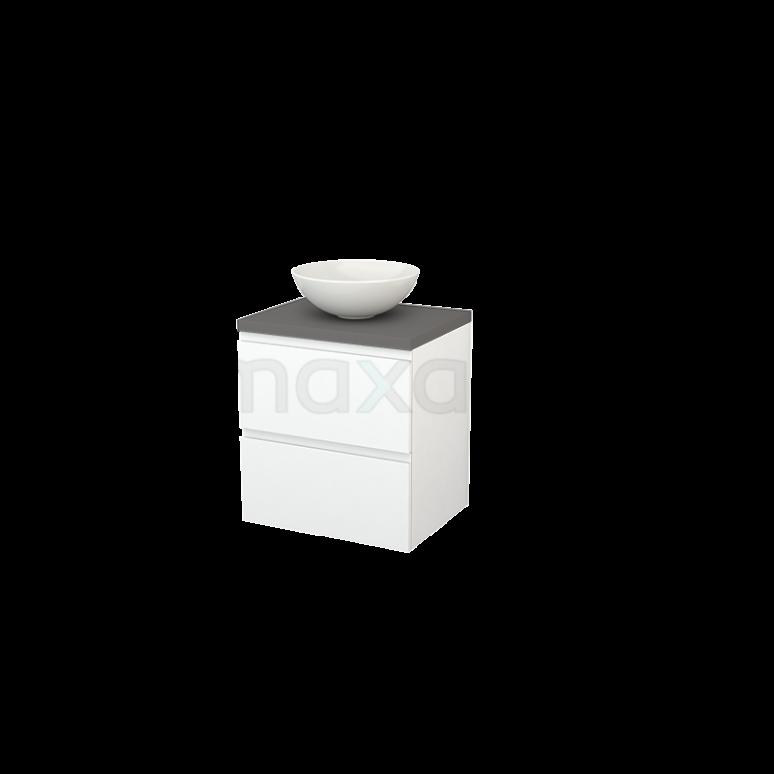 Badkamermeubel voor Waskom 60cm Mat Wit Greeploos Modulo+ Plato Basalt Blad
