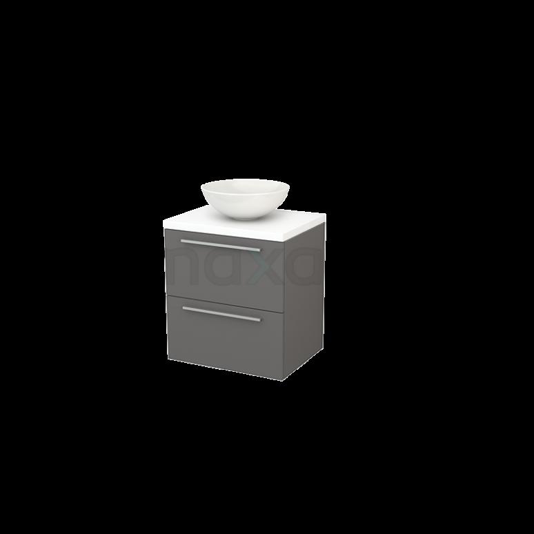 Badkamermeubel voor Waskom 60cm Basalt Vlak Modulo+ Plato Mat Wit Blad