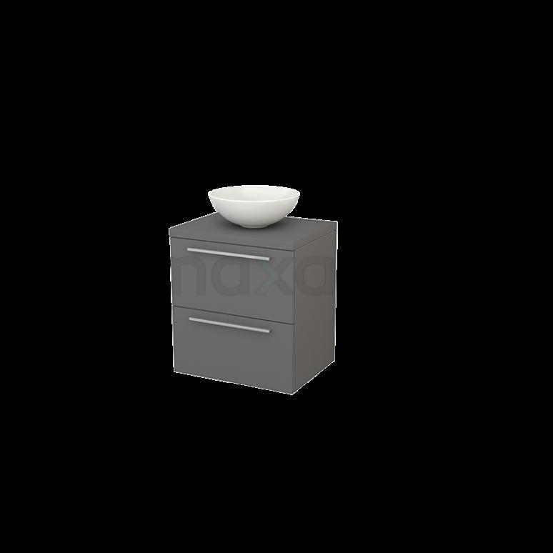 Badkamermeubel voor Waskom 60cm Modulo+ Plato Basalt 2 Lades Vlak