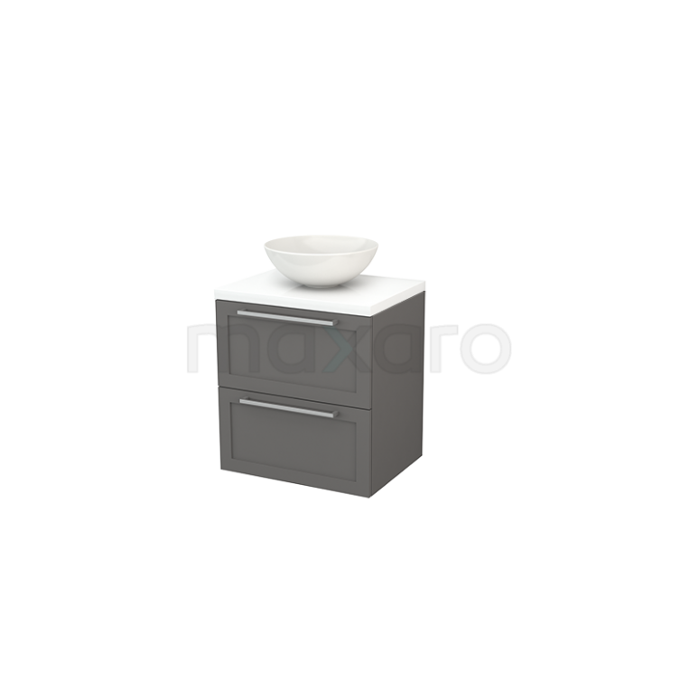 Badkamermeubel voor Waskom 60cm Basalt Kader Modulo+ Plato Hoogglans Wit Blad
