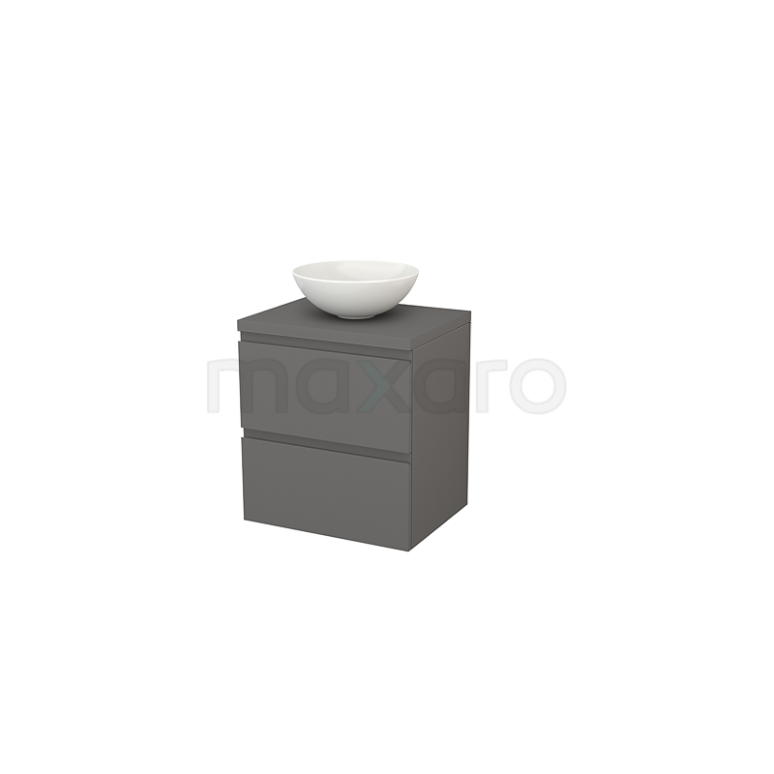 Badkamermeubel voor Waskom 60cm Modulo+ Plato Basalt 2 Lades Greeploos