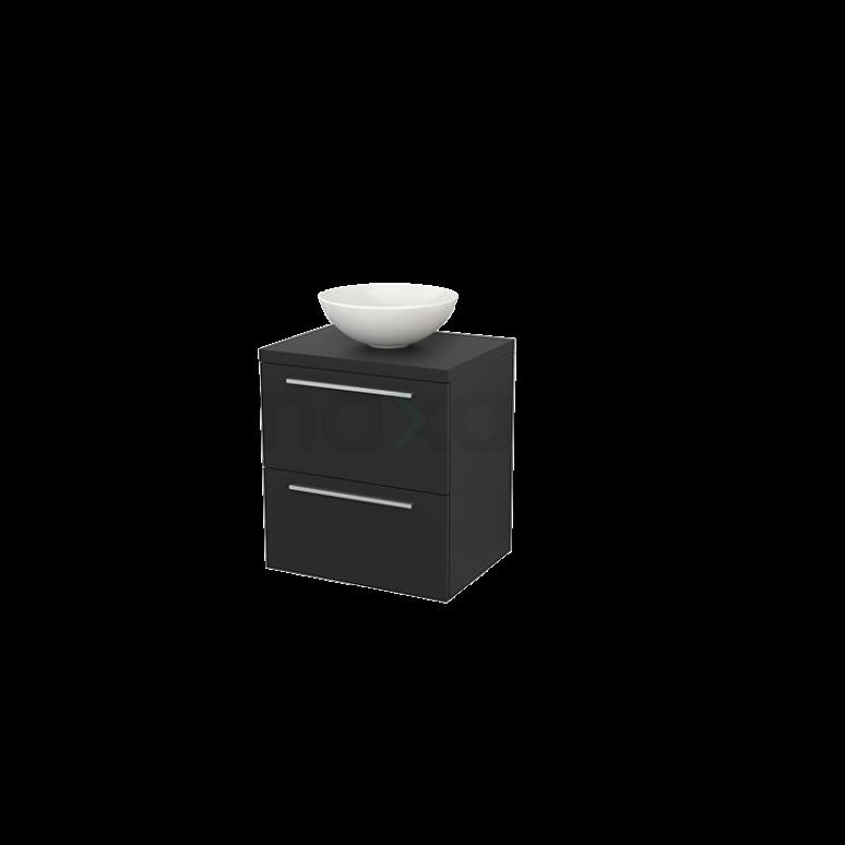 Badkamermeubel voor Waskom 60cm Modulo+ Plato Carbon 2 Lades Vlak