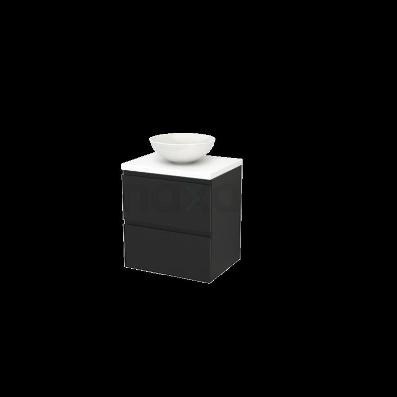 Badkamermeubel voor Waskom 60cm Carbon Greeploos Modulo+ Plato Mat Wit Blad