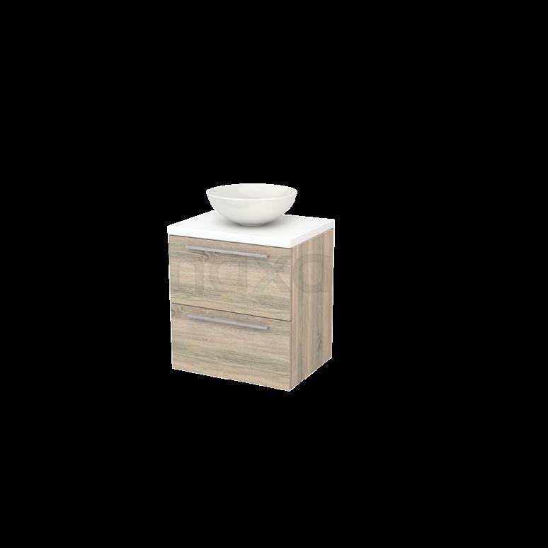 Badkamermeubel voor Waskom 60cm Eiken Vlak Modulo+ Plato Mat Wit Blad