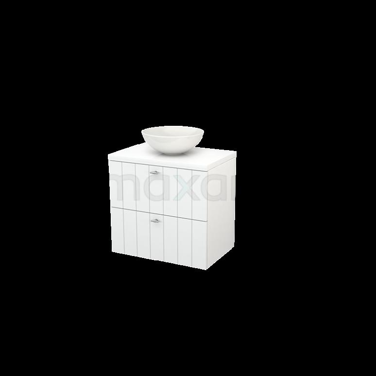 Badkamermeubel voor Waskom 70cm Modulo+ Plato Hoogglans Wit 2 Lades Lamel
