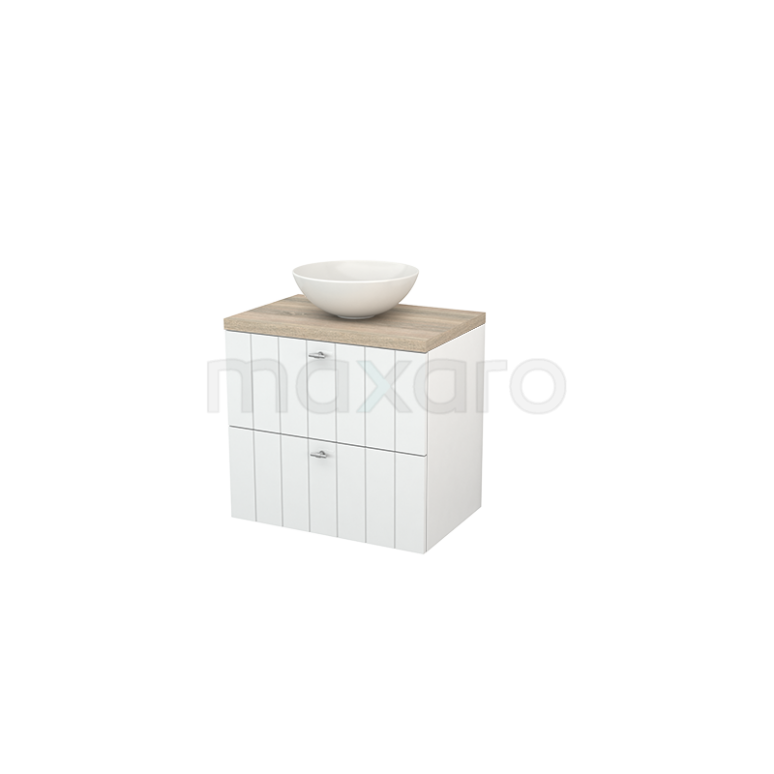 Badkamermeubel voor Waskom 70cm Hoogglans Wit Lamel Modulo+ Plato Eiken Blad