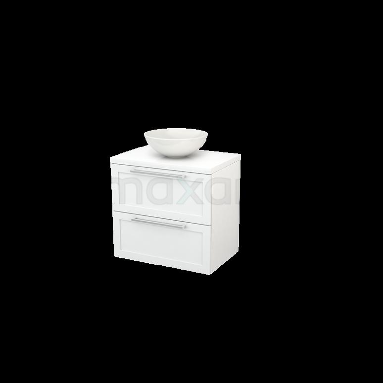 Badkamermeubel voor Waskom 70cm Modulo+ Plato Hoogglans Wit 2 Lades Kader