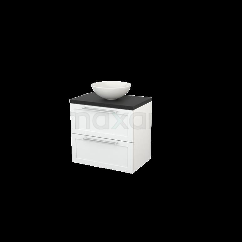 Maxaro Modulo+ Plato BMK001644 Badkamermeubel voor Waskom 70cm Hoogglans Wit Kader Modulo+ Plato Carbon Blad