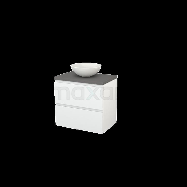 Badkamermeubel voor Waskom 70cm Hoogglans Wit Greeploos Modulo+ Plato Basalt Blad